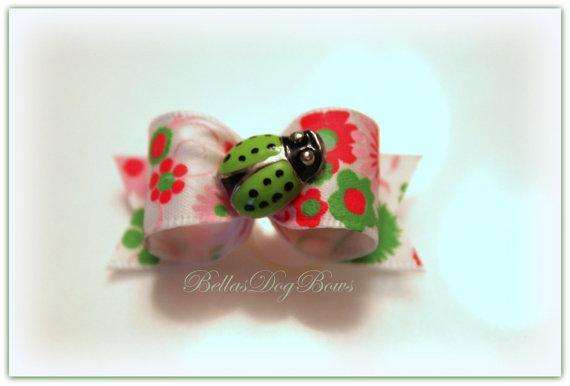 5/8 Satin Flower Print Bow with Green Ladybug Embellishment. Matching Floral