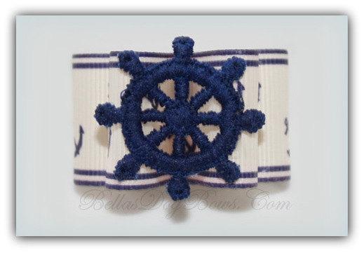 Nautical 1-Inch Ship's Wheel Double Loop Dog Bow.