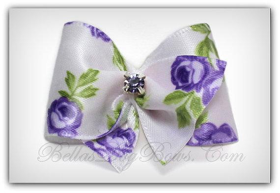 Purple Rose in White Satin Butterfly Style Bow With  Lavender Swarovski Crystal