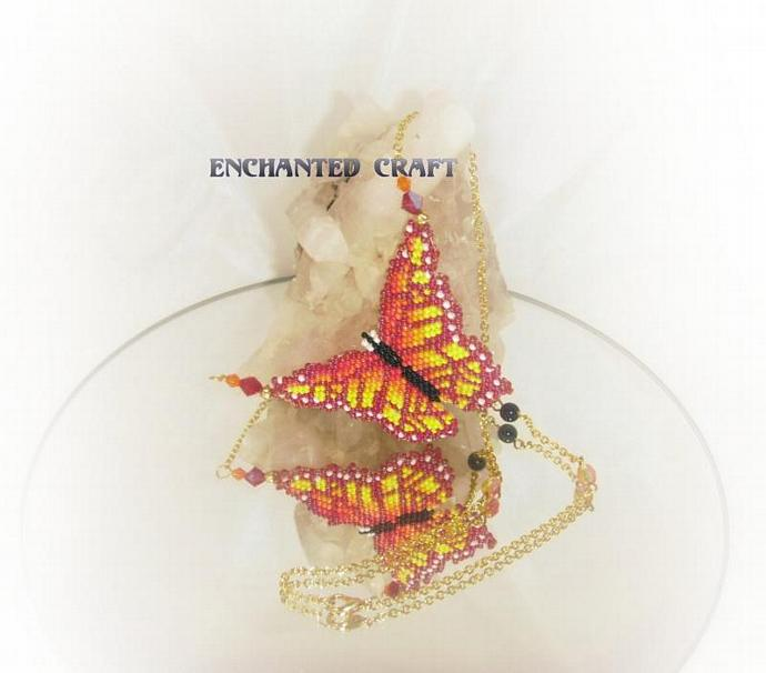 Tropical beaded butterfly necklace with crystal accents