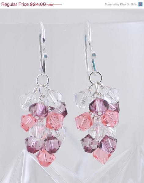 SALE 15% OFF Antique Pink, Peach and Clear Cluster Earrings, Swarovski Crystal