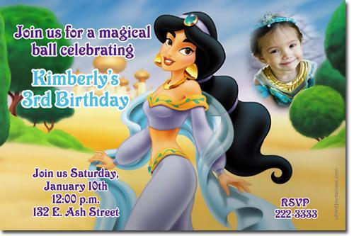 ALADDIN JASMINE BIRTHDAY INVITATIONS **Download JPG Immediately**