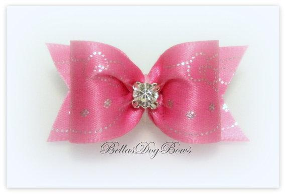 Dark Pink Satin Ribbon Bow with Kitty Design in Silver with Matching Flags and