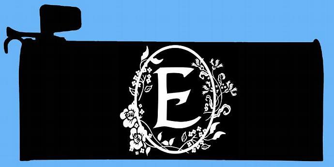 Mailbox Monogram -Set of Letter E Floral Cameo Framed Monograms  - For