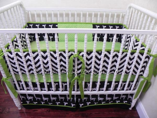 Custom Crib Bedding Set Parker - Black Chevron with Lime