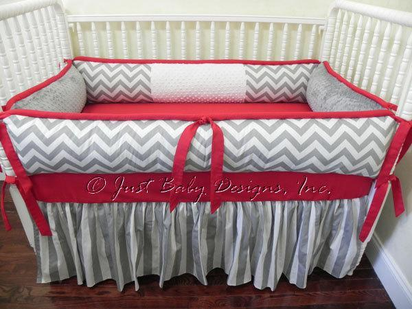 Custom Crib Bedding Set Alex - Gray Chevron and Stripes with Red