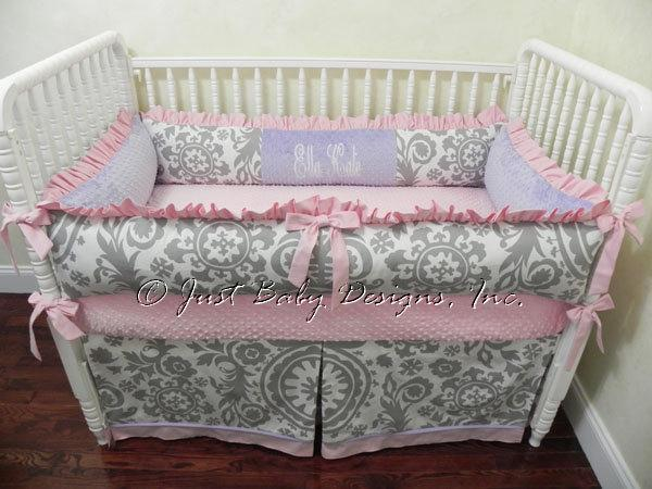 Custom Crib Bedding Ella Kate - Gray and White Suzani with Pink and Lavender