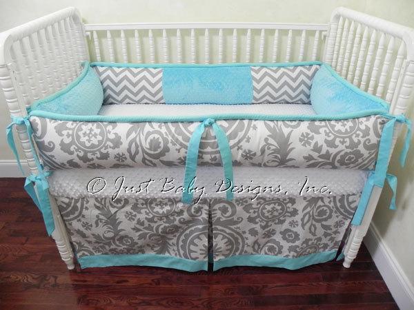 Custom Crib Bedding Set Emilee - Gray Chevron and Suzani with Aqua