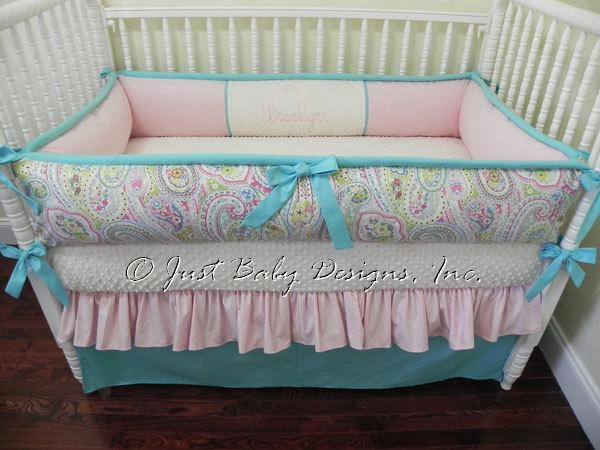 custom crib bedding set brooklyn paisley babybedding