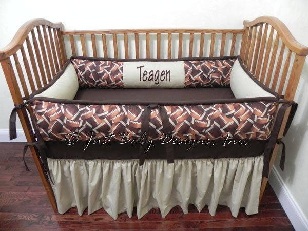Custom Crib Bedding Sports Football