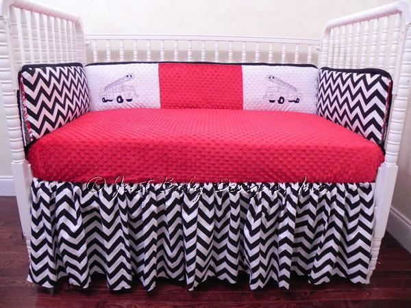 custom crib bedding set black and white chevron with fire truck applique