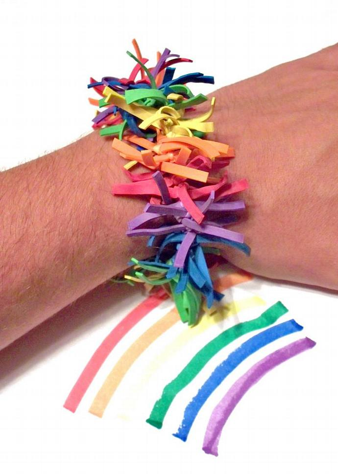 Rainbow Firewoks Stretch Bracelet - Made w/ Rubber Bands, Frayed Rubber Bracelet
