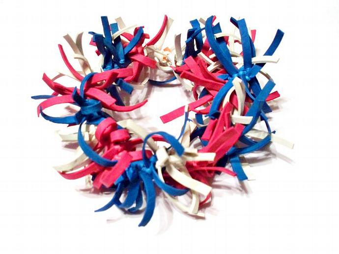 4th of July Fireworks Bracelet Made Out of Rubber Bands - Red, White and Blue,