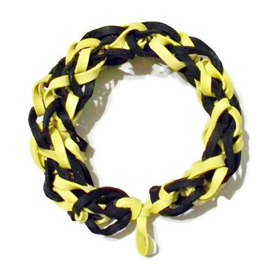 Pittsburgh Pirates or Steelers Sports Bracelet - Black and Yellow Rubber Bands -