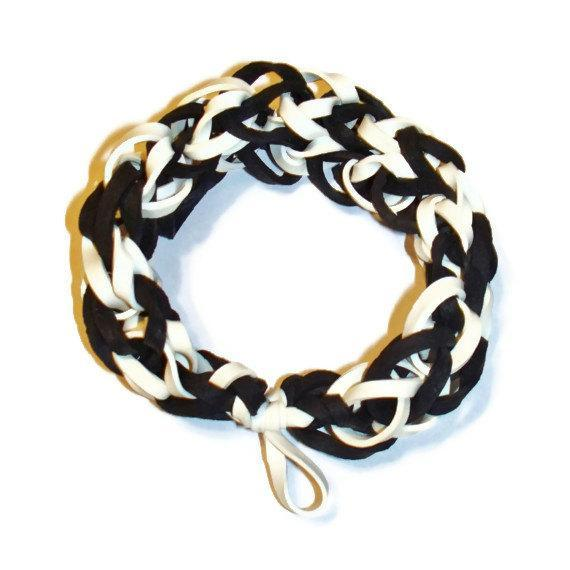 MLB Chicago White Sox Sports Bracelet - Black and White Rubber Bands - Baseball
