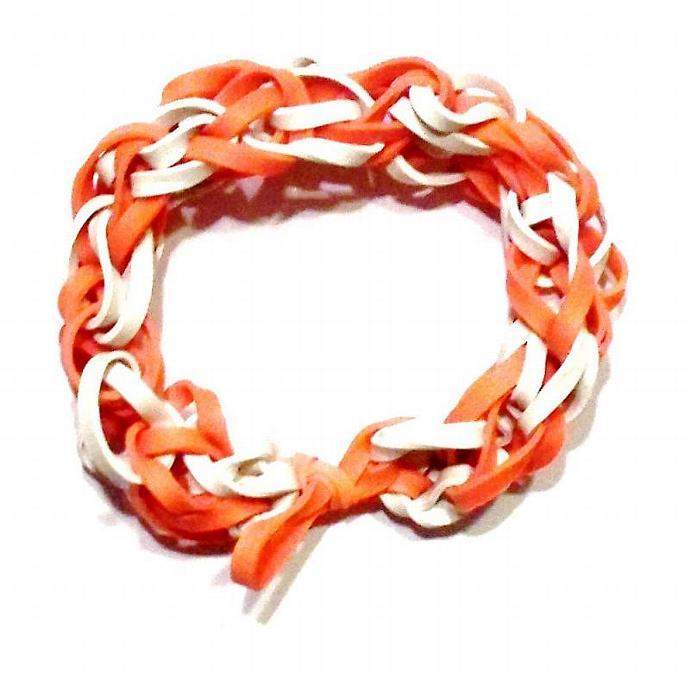Clemson Tigers Sports Bracelet - Orange and White Rubber Bands - Cincinnati