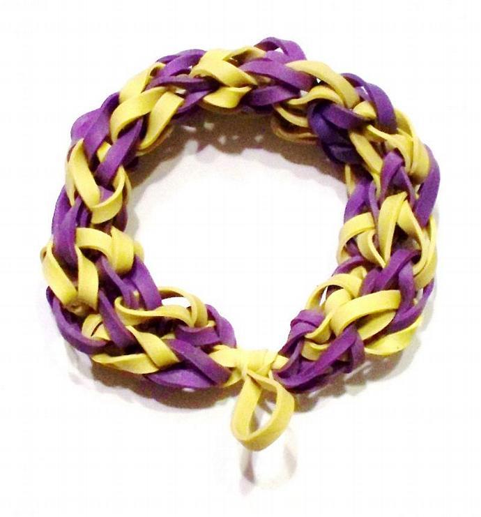 LSU Football Sports Bracelet - Yellow and Purple Rubber Band Bracelet - LA