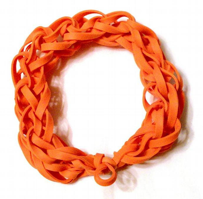 Orange Rubber Band Bracelet - Great Party Favor / Gift for Kids Teens and Adults