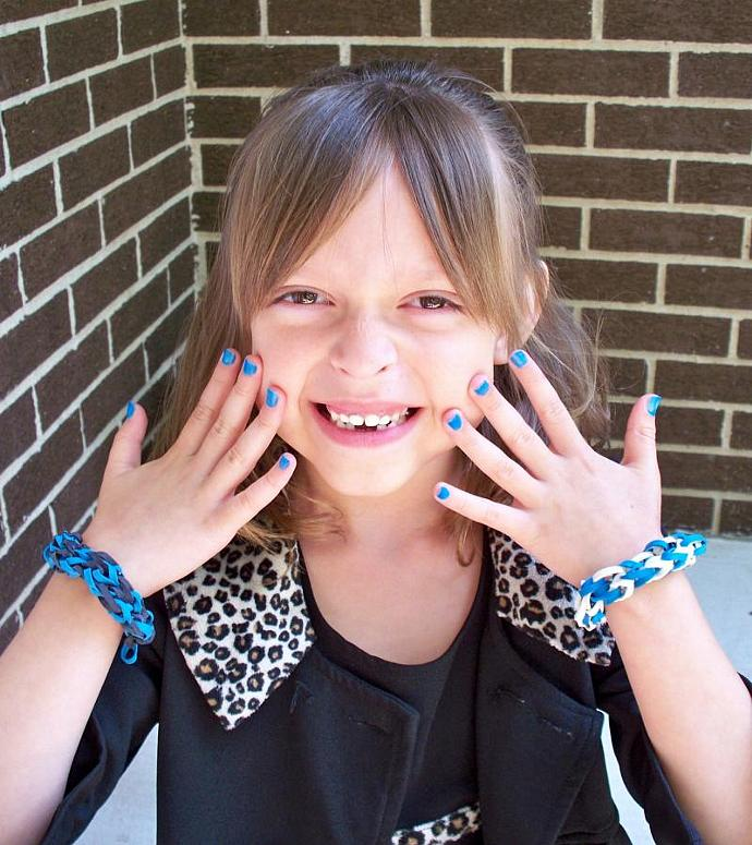 True Blue Stretch Bracelet Made w/ Blue Rubber Bands - Party Favor or Gift for