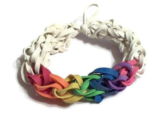 Rainbow Bracelet - White with Rainbow Colored Rubber Bands - Support the Cause