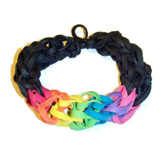 Black and Rainbow Rubber Band Bracelet - Awesome for Sporting Events,