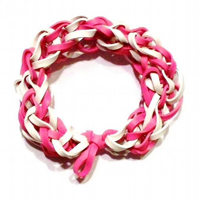 Pink Princess Bracelet w/ Pink and White Rubber Bands - Gifts for Girls and