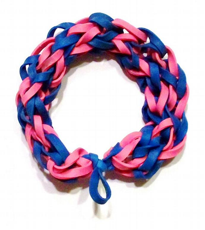 Cotton Candy Blue and Pink Rubber Band Bracelet - Stretch Bracelet