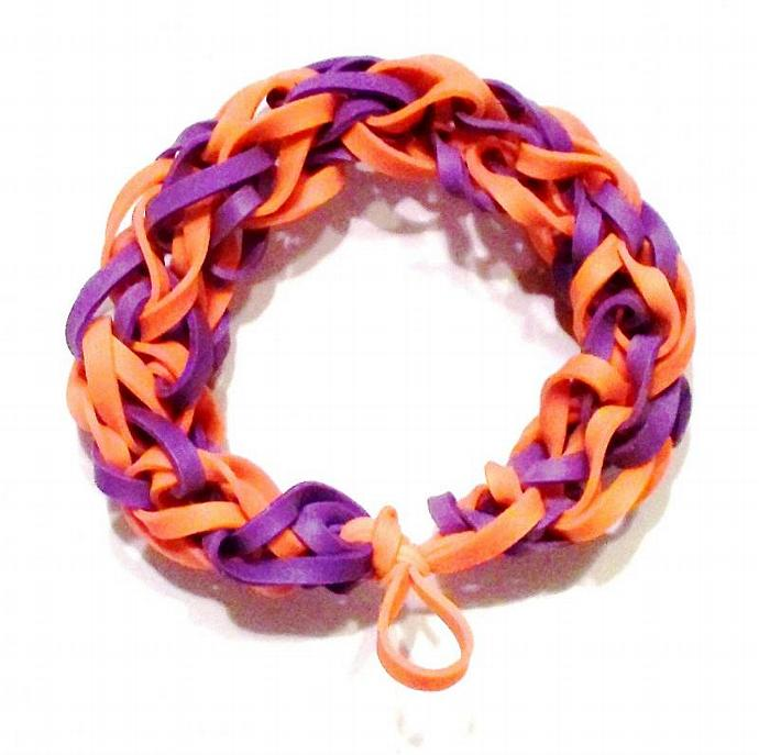 Clemson Tigers Sports Bracelet - Purple and Orange Rubber Band - Spirit Wear,