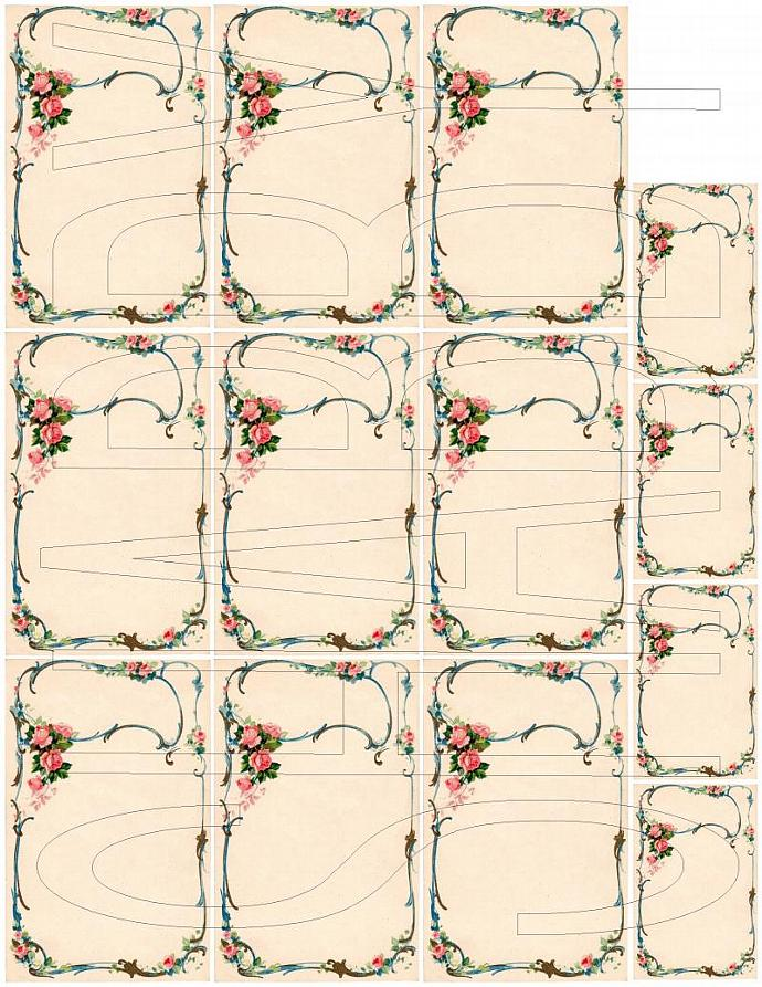Shabby Chic digital  collage sheet Roses journal card Tag for scrapbook and