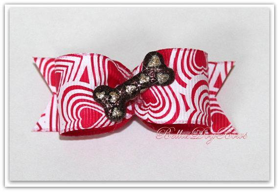 "7/8-L Red & White ""Puppy Love"" Heart Print Bow with Glitter Heart Dog Bone"