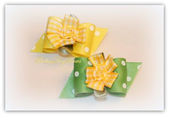 COLOR CHOICE - Yellow Gingham Flowers on Choice of Yellow or Green Satin Polka