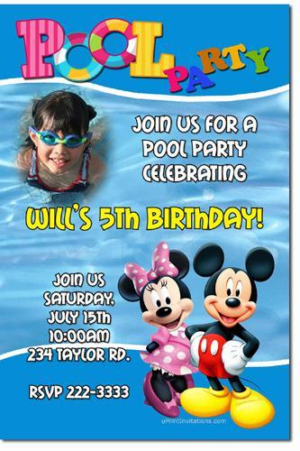 Mickey Mouse Pool Party Birthday Invitations (Download JPG Immediately)