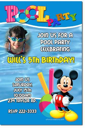 Minnie Mouse Pool Party Birthday Invitations (Download JPG Immediately)