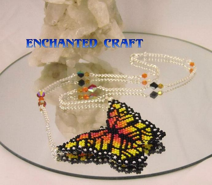 Viceroy beaded butterfly necklace with crystal accents