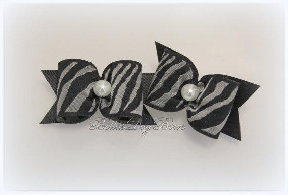 SET - Animal Print (Zebra) Dog Bows with Black Flags and White Pearl Centered