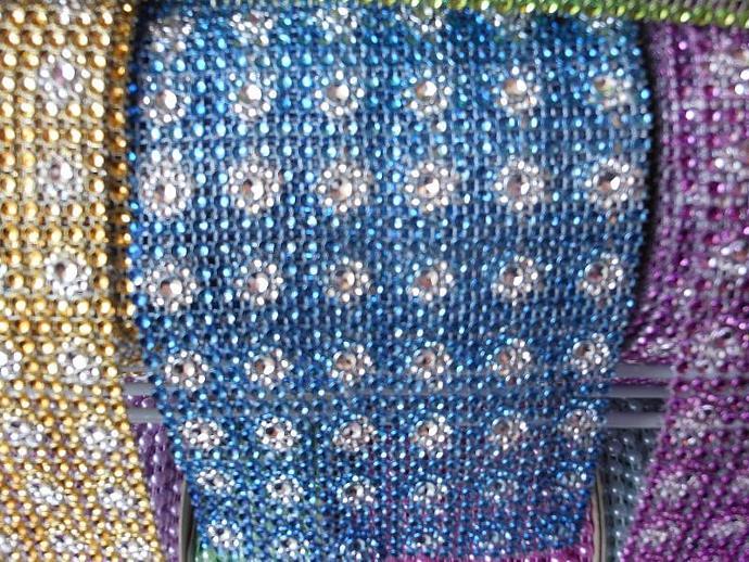 Blue Flower Centered Mesh Bling 1 yard