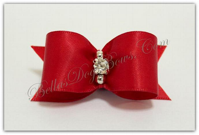"""7/8""""  Red Satin Bow with Matching Flags / Silver Beads embrace Large Swarovski"""