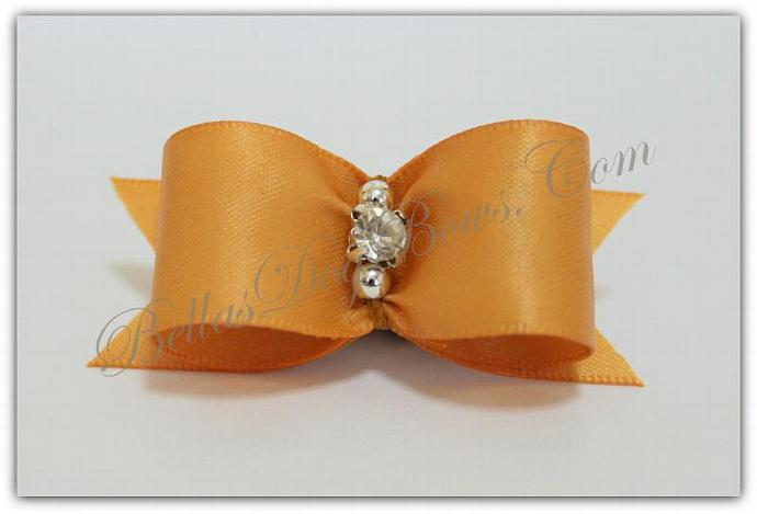 "7/8""  Gold Satin Bow with Matching Flags / Silver Beads embrace Large Swarovski"
