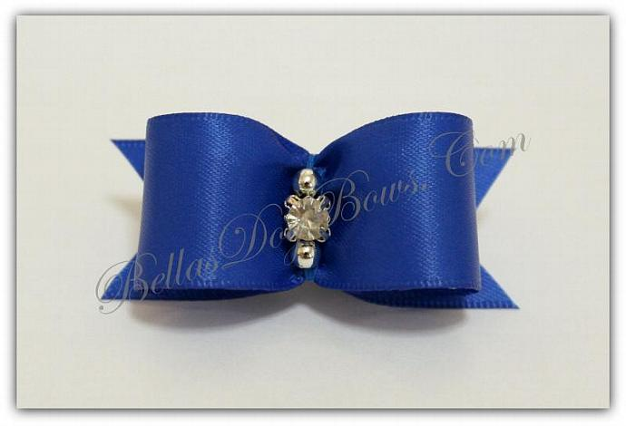 "7/8""  Royal Blue Satin Bow with Matching Flags / Silver Beads embrace Large"