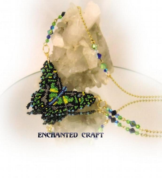 green beaded butterfly necklace with crystal accents inspired by the malachite