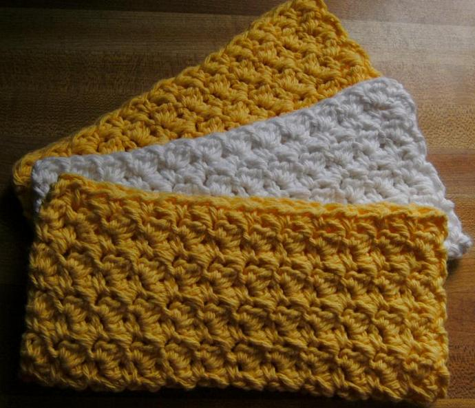 LEMON CHIFFON PIE---Set of 3 Handmade Cotton Croch