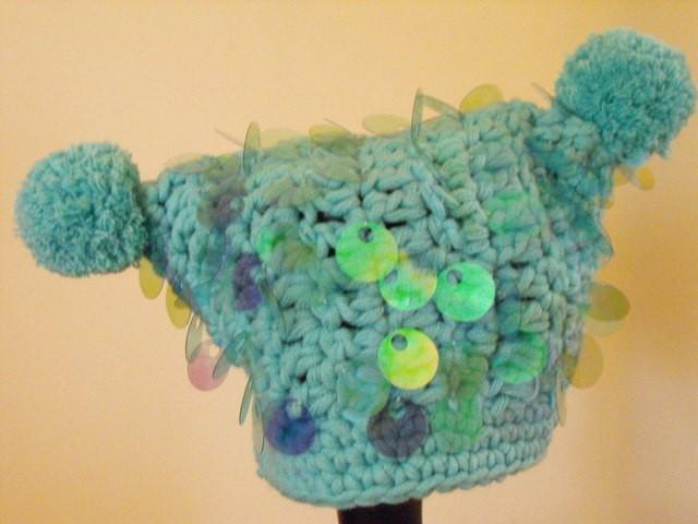 AQUA JESTER HAT WITH PAILETTE SEQUINS AND POM POMS