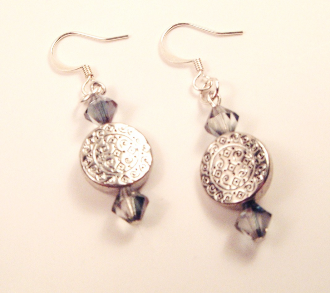 Blue Flare Crystal Silver Earrings