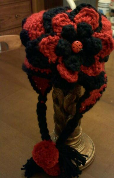 LADYBUG EARFLAP HAT WITH BRAIDS AND BUTTONS SIZE 6