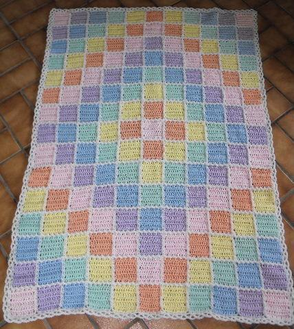 TREASURED PASTEL DIAMOND BLOCK BABY BLANKET/AFGHAN