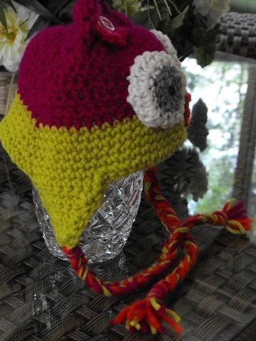 GIRLIE OWL CROCHET EAR FLAP HAT FOR TODDLERS 12-24