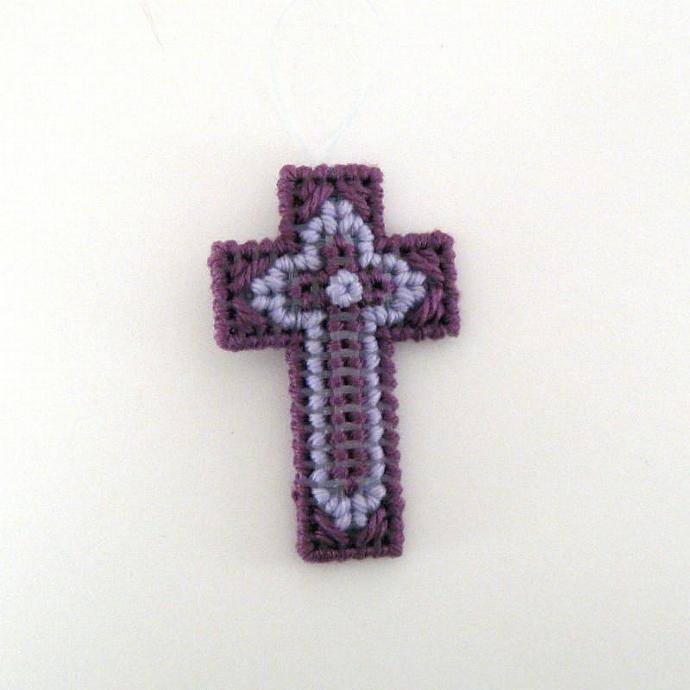 Purple Lavender Christian Cross Ornament tripple cross design