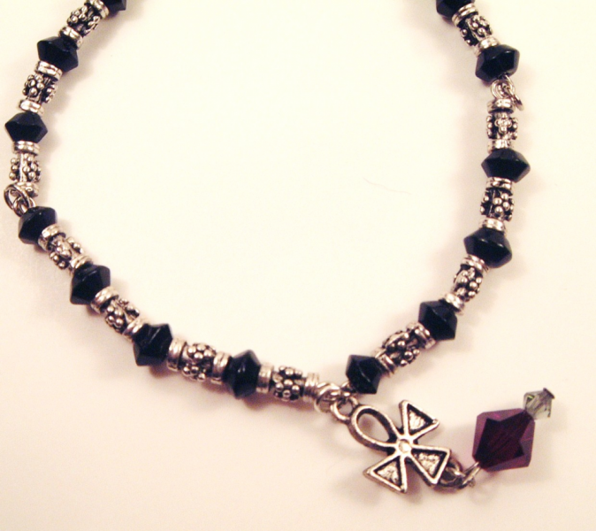 Gothic Ankh Bracelet with Blood Red Crystal