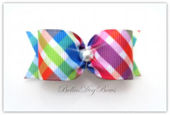 7/8-L Rainbow Plaid Bow ~ Matching Flags and White Pearl.