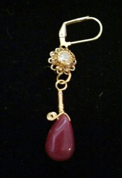 """Ruby & Crystal Earrings """" Genuine Gemstone"""""""